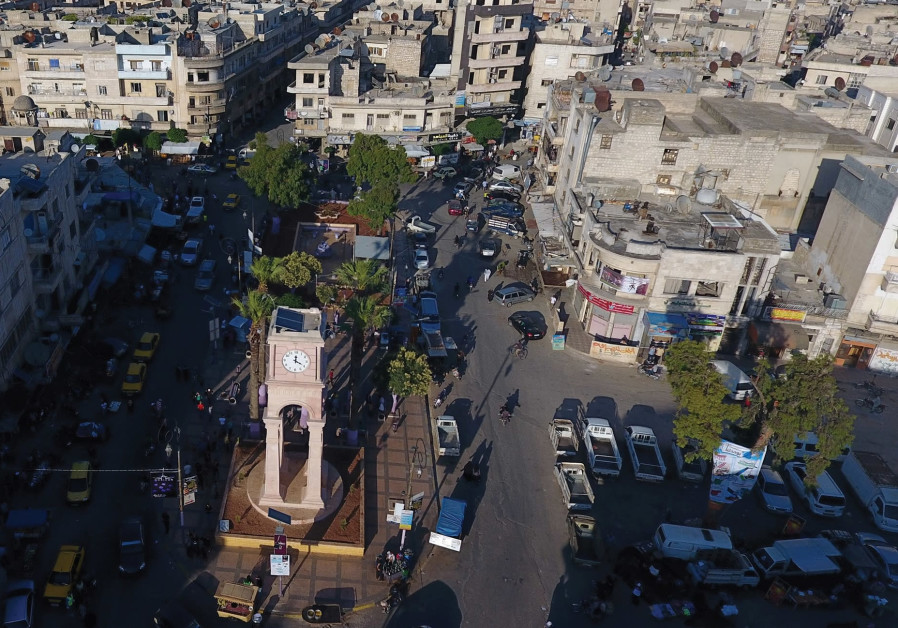 A GENERAL view taken with a drone shows the Clock Tower of the rebel-held Idlib city, Syria in June.