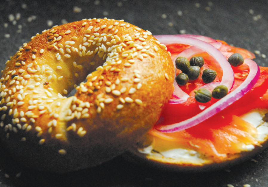 A HOMEMADE bagel with fresh gravlax from 'Modern Jewish Baker.'