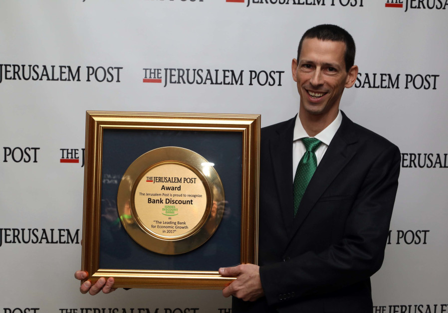DISCOUNT BANK CFO and head of strategy, Ziv Biron, is given the The Jerusalem Post award for the org