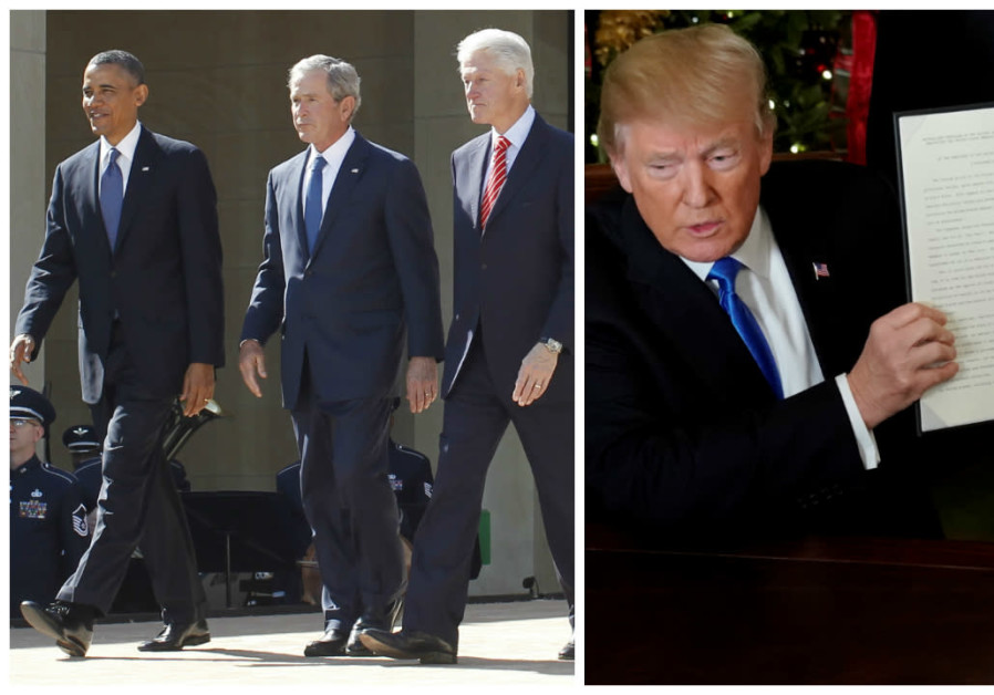Left: File photo of former US Presidents Clinton Bush and Obama, Right: US President Trump presentin