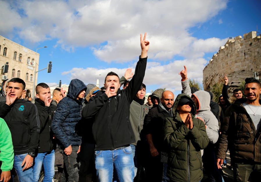 Palestinians shout slogans in protest against US recognition of Jerusalem