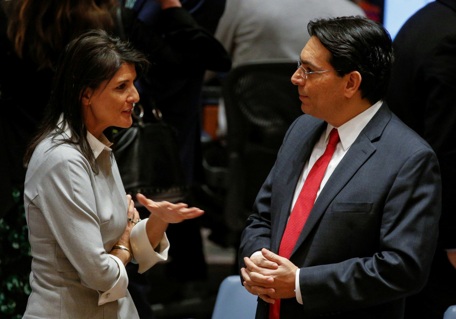 United States ambassador to the United Nations Nikki Haley speaks with Israel's Ambassador to the UN