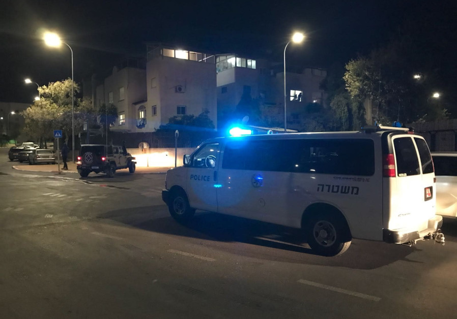 An ambulence arrives at the scene after a rocket landed in Sderot, December 8, 2017. (Police Spokesperson's Unit)
