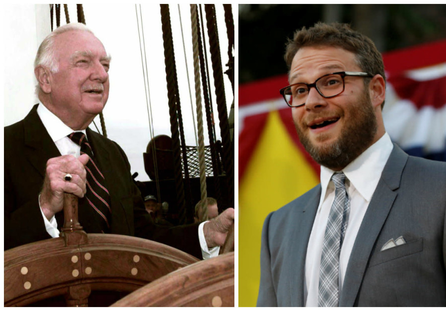 Compilation photo of Walter Cronkite and Seth Rogen