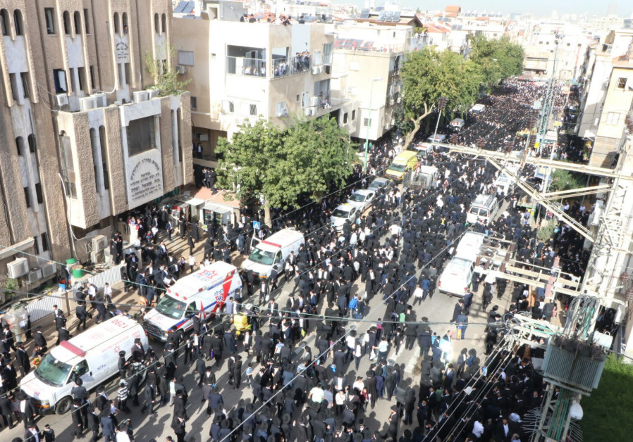 Crowds gather in Bnei Brak before the funeral of Rabbi Aharon Leib Shteinman. (Credit: Magen David Adom)