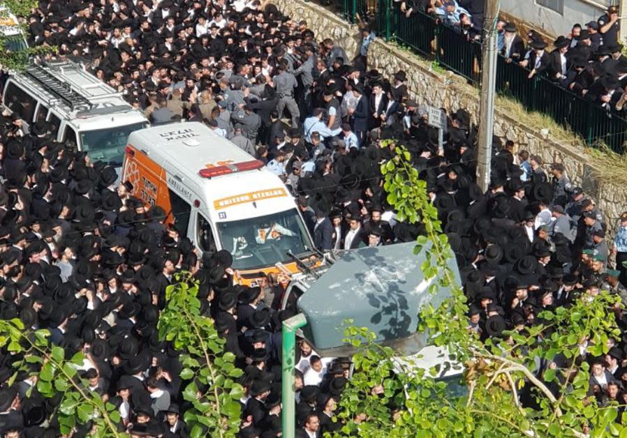 Funeral procession for Rabbi Aharon Leib Shteinman (Credit: United Hatzalah)