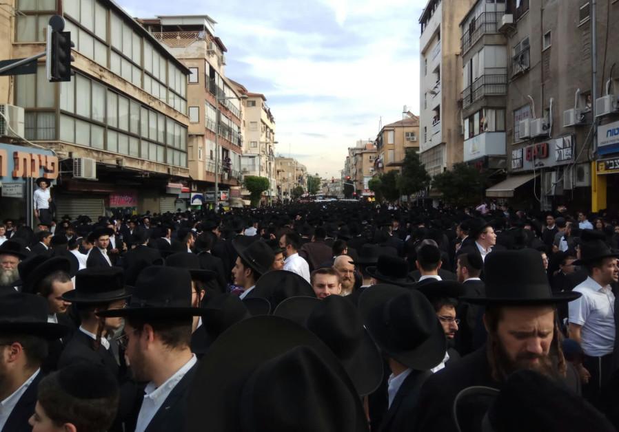 The funeral procession of Rabbi Aharon Leib Shteinman (Credit: Jeremy Sharon)