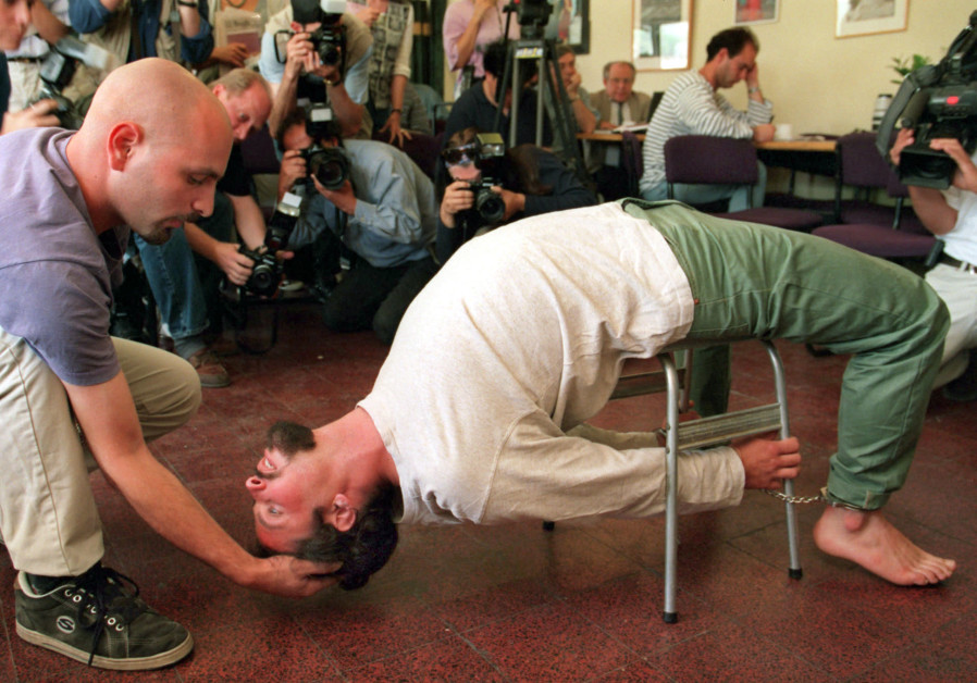 "actors demonstrate the Israeli Shin Bet torture method known as ""Banana b'kiseh"""