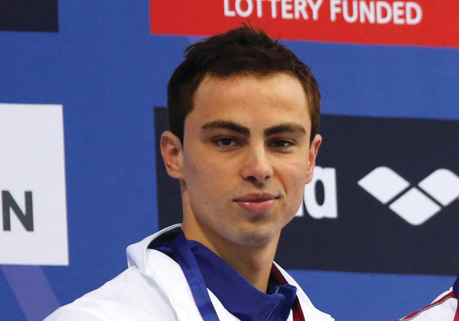 Israeli swimmer Yakov Toumarkin ended the 200-meter backstroke final at the European Short-Course Sw