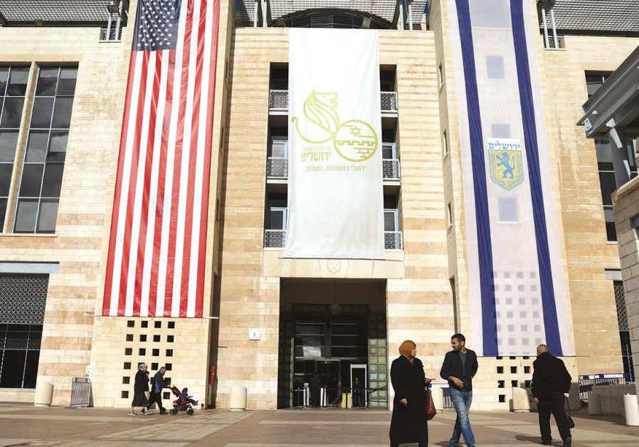 US AND Israel flags displayed in Jerusalem after Washington recognized Jerusalem as the capital.