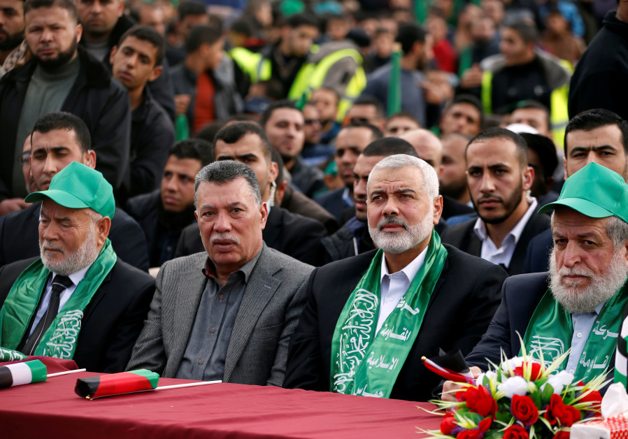 Hamas Chief Ismail Haniyeh attends a rally marking the 30th anniversary of Hamas in Gaza City