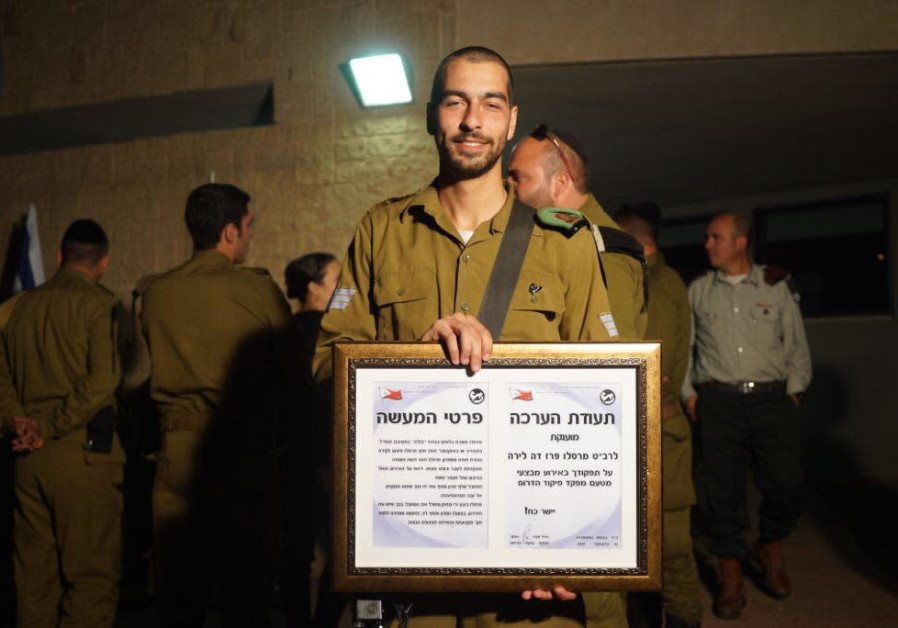 Corporal Marcelo Perez wins an award for thwarting a terror attack at Gush Etzion junction.