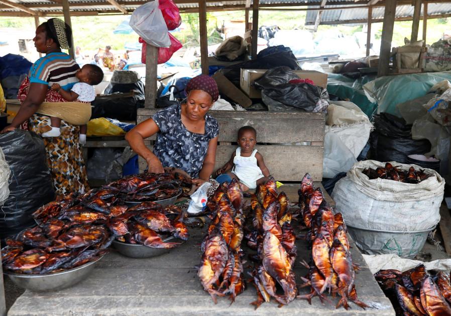 A woman sells dried fish fish at a market in Libreville, Gabon