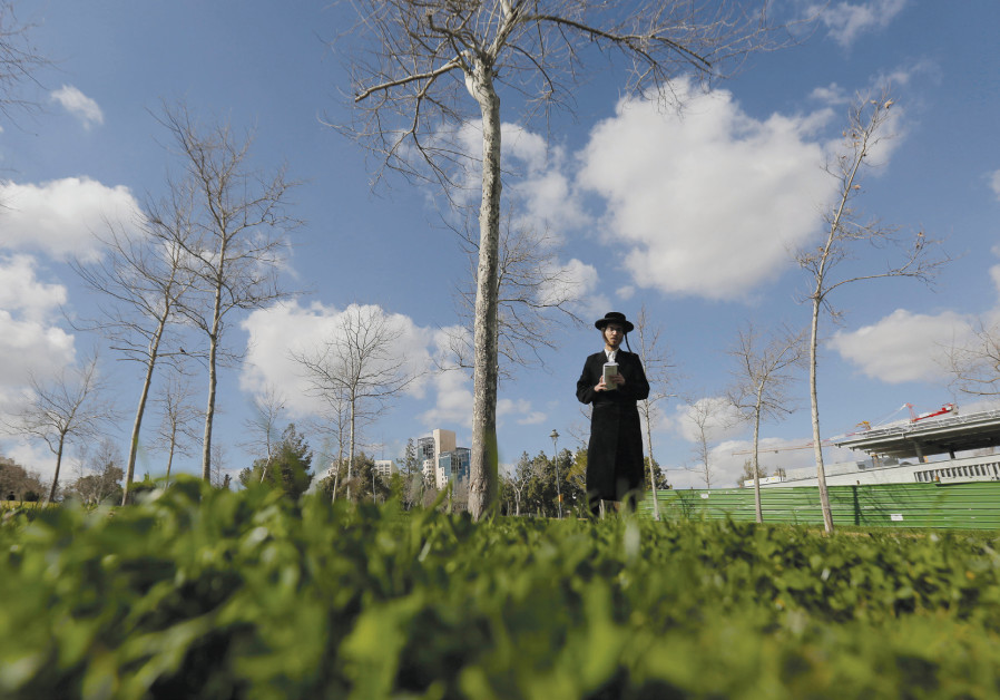 AN ULTRA-ORTHODOX man prays in a Jerusalem park