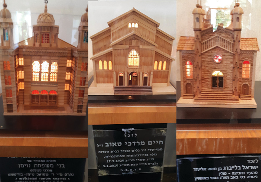 Left to right: Model of a Berlin synagogue, built by Holocaust survivor Hanan Weissman, Model of syn