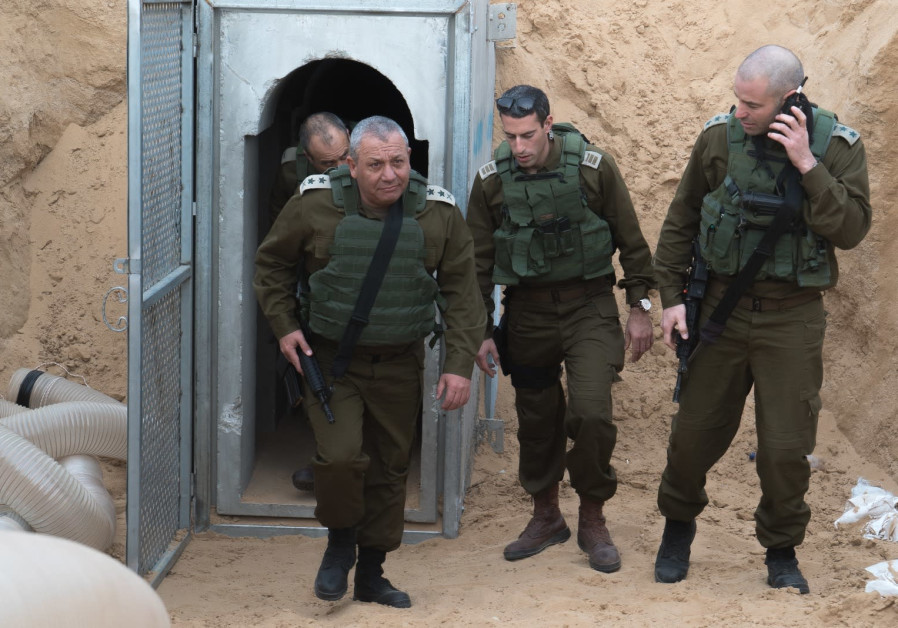 IDF Chief of Staff Gadi Eisenkot visits Hamas terror tunnels on the Gaza border