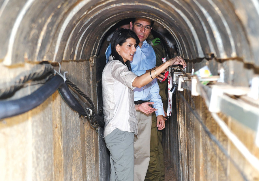 US AMBASSADOR to the United Nations Nikki Haley and Israel's UN envoy Danny Danon, tour a tunnel in