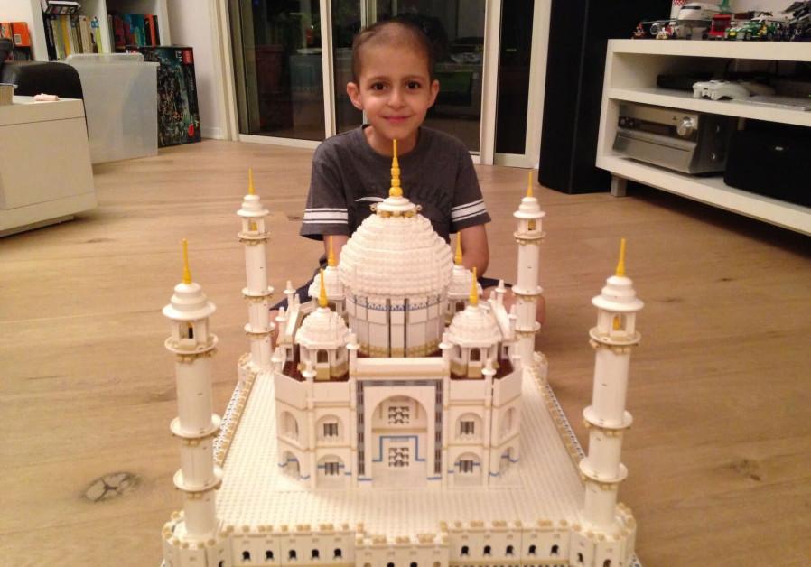 Omer Sayag with his Lego-built model of the Taj Mahal. (Courtesy)