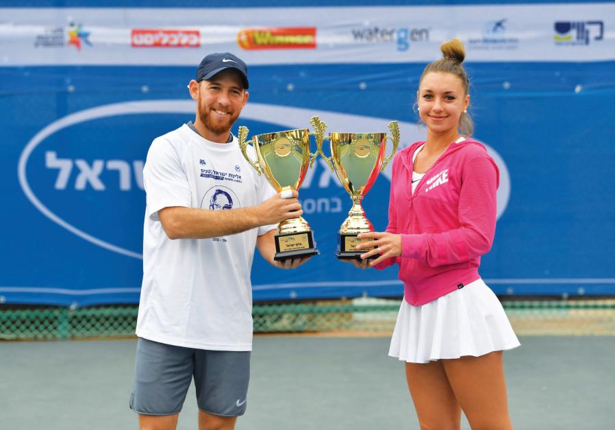 Picture of men's and women's Israel tennis champions Dudi Sela and Vlada Ekshibarova.
