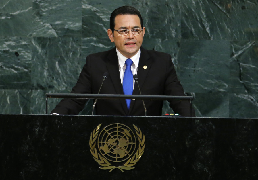 Guatemalan President Jimmy Morales addresses the 72nd United Nations General Assembly at UN Headquar