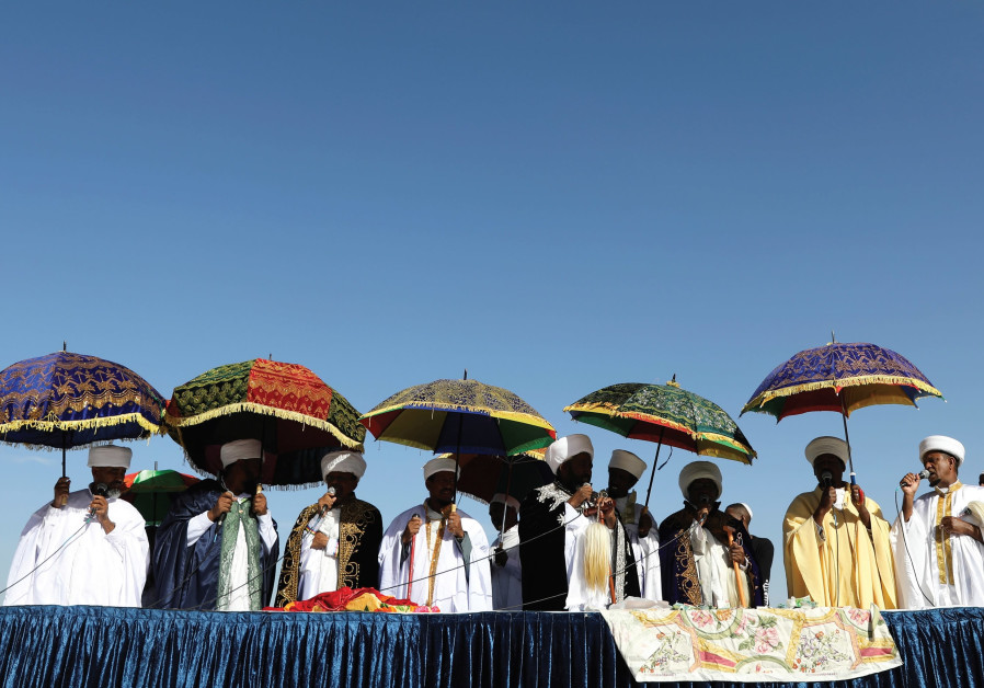 RELIGIOUS LEADERS of the Israeli Ethiopian community take part in a ceremony marking the Ethiopian h