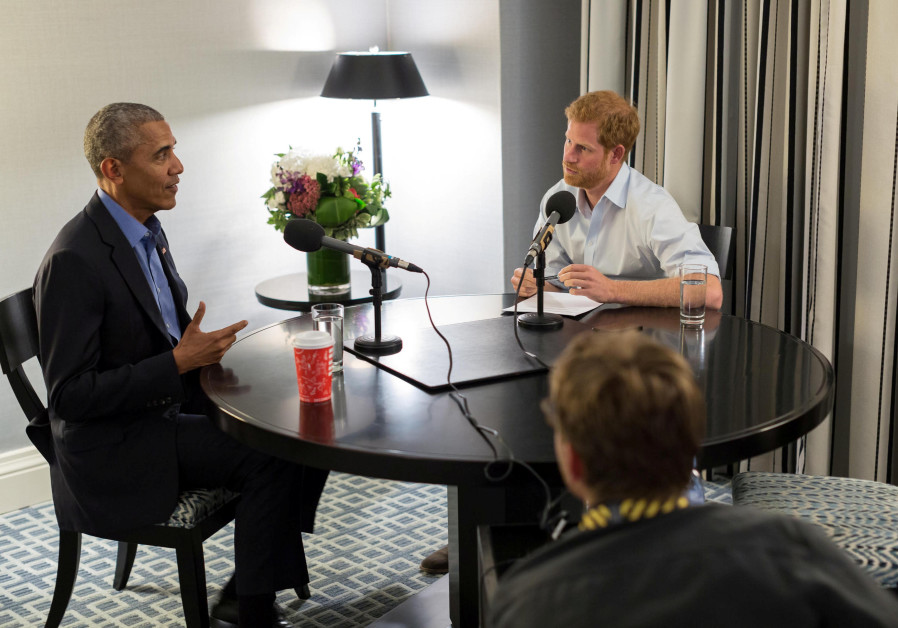Britain's Prince Harry interviews former US President Barack Obama