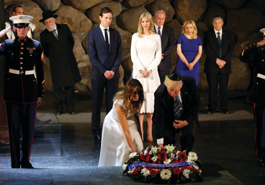 US PRESIDENT Donald Trump and First Lady Melania lay a wreath in the Hall of Remembrance at Yad Vash