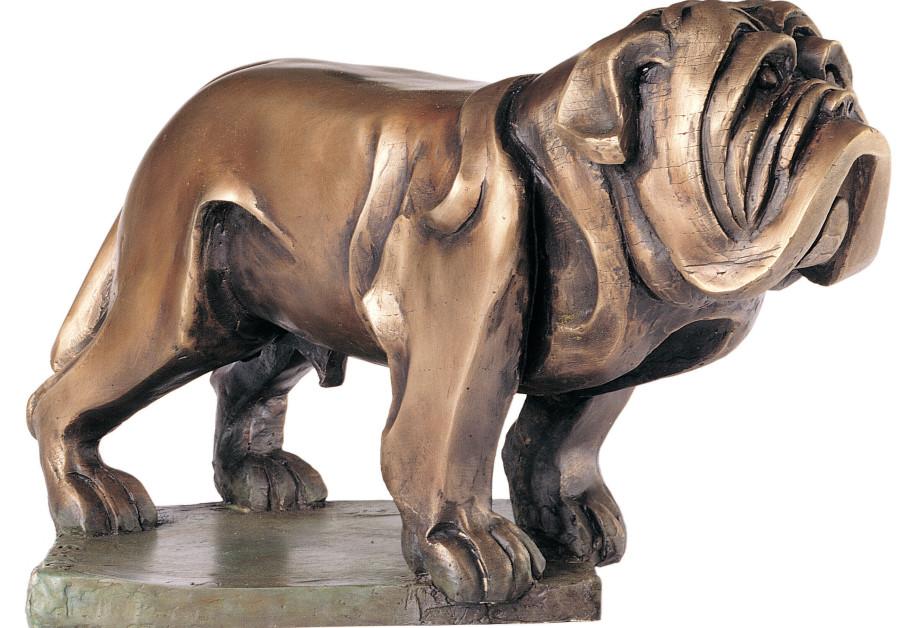 A BRONZE sculpture of a dog by Eliezer Weishoff