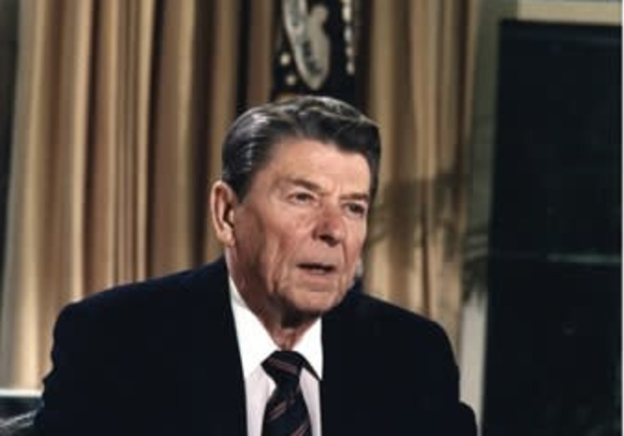 Former president Ronald Reagan addresses the nation from the Oval Office