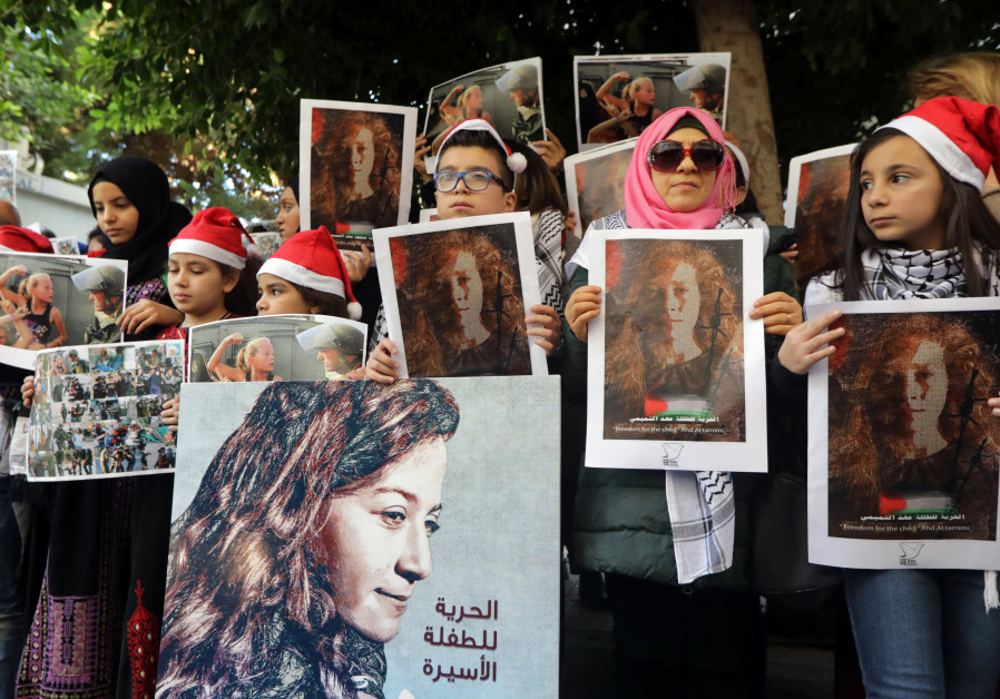 Lebanese and Palestinians gather for a protest calling for the release of Palestinian teen Ahed Tami