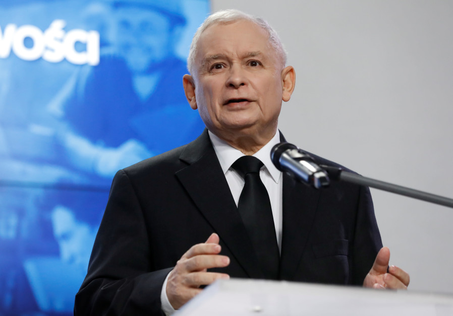 Jaroslaw Kaczynski, leader of the ruling party Law and Justice, speaks during a joint news conferenc