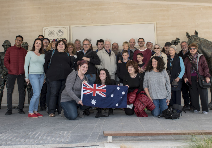 Members of the extended Slutzkin family at the ANZAC Memorial Center in Beersheba.