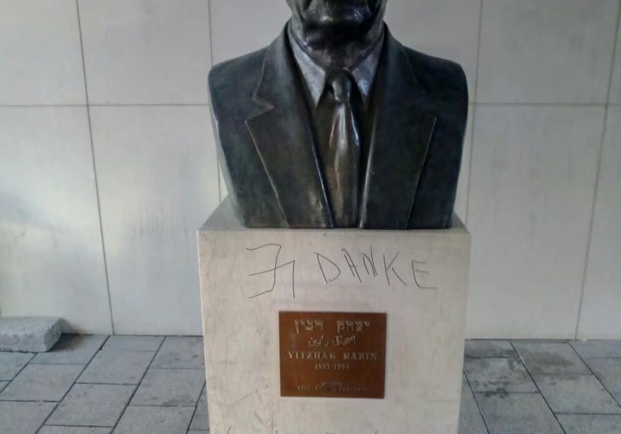 The defaced statue of former prime minister Yitzhak Rabin in Tel Aviv. (Courtesy of Police Spokesman