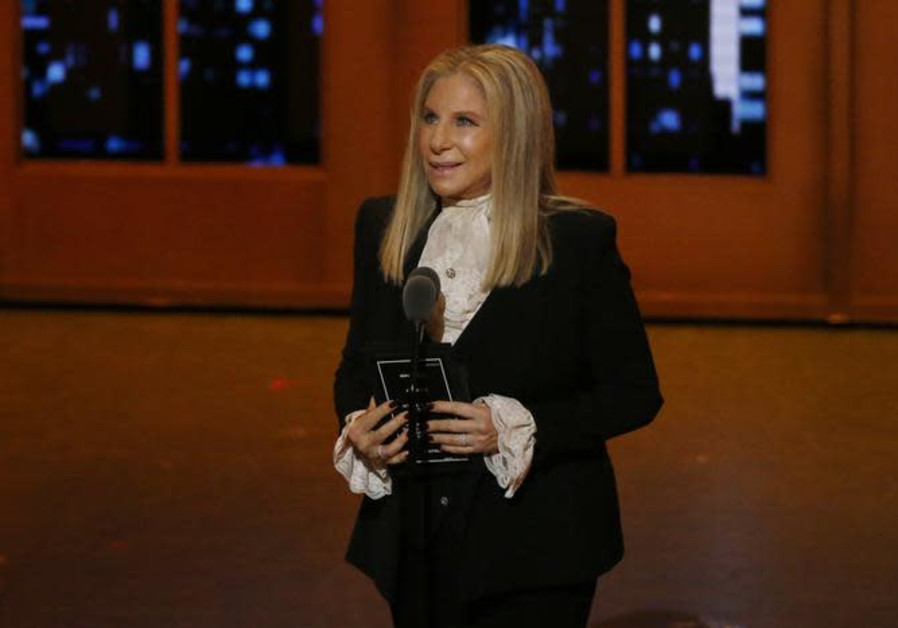 Singer Barbra Streisand speaks on stage during the American Theatre Wing's 70th annual Tony Awards.