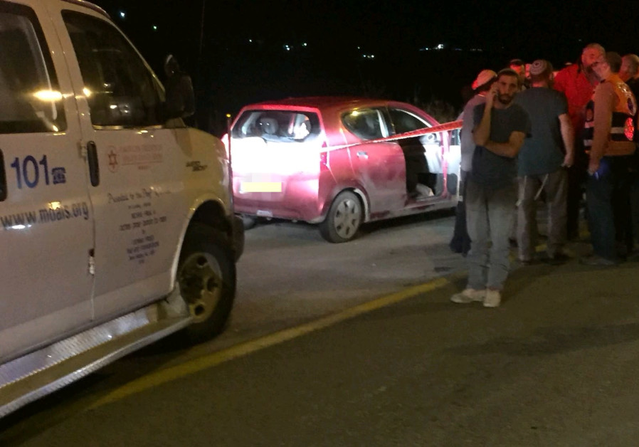 The car that was shot at from a terror attack in the West Bank on January 9, 2018.