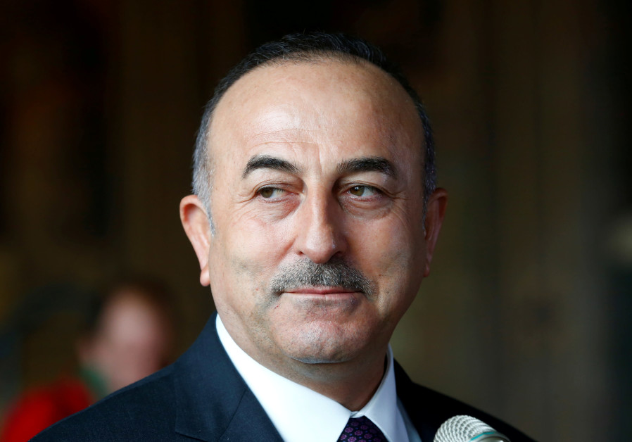 Turkish Minister of Foreign Affairs Mevlut Cavusoglu attends a news conference in Goslar, Germany.