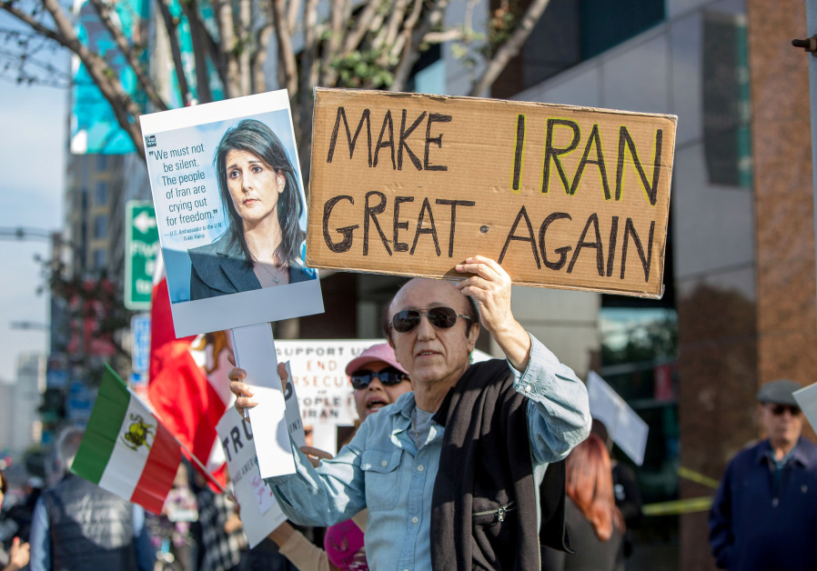 People rally in support of Iranian anti-government protests in Los Angeles, California, US.
