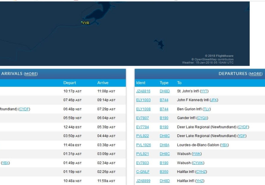 Flights from the Goose Bay Airport, including flight ELY1008 to Tel Aviv (Credit: Screenshot of Goose Bay Airport website)