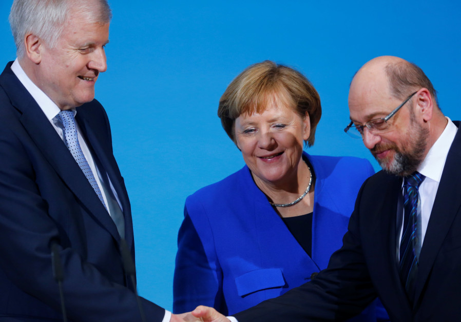 Acting German Chancellor Angela Merkel, leader of the Christian Social Union in Bavaria (CSU) Horst