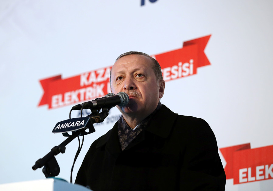 Turkish President Recep Tayyip Erdogan speaks at an event near Ankara, January 2018