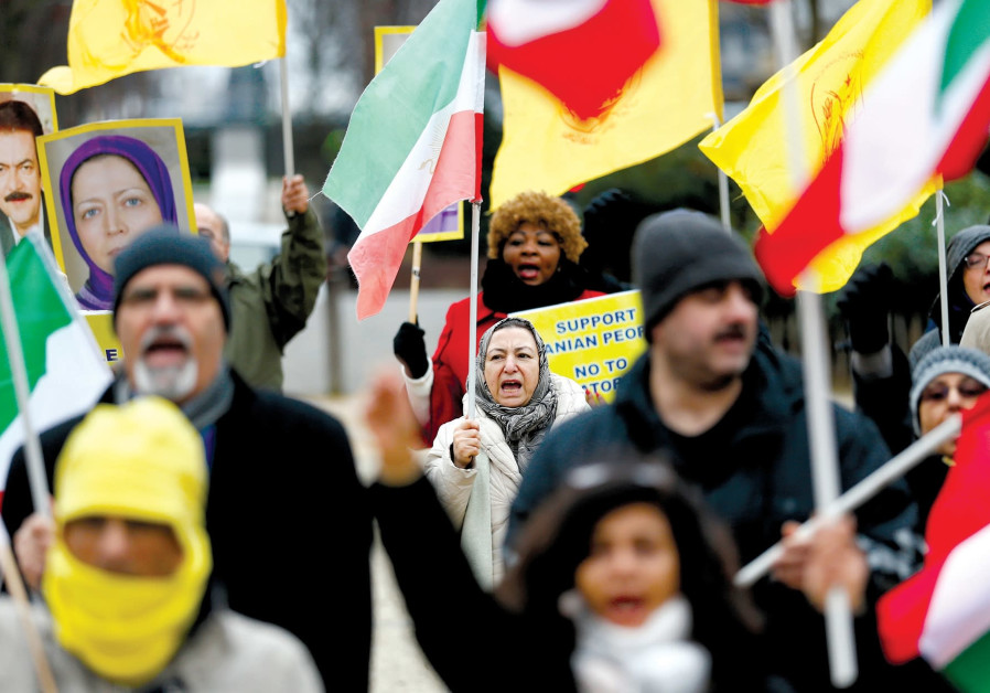Protesters supporting the Iranian protests outside the European Union Council in Brussels, Belgium.