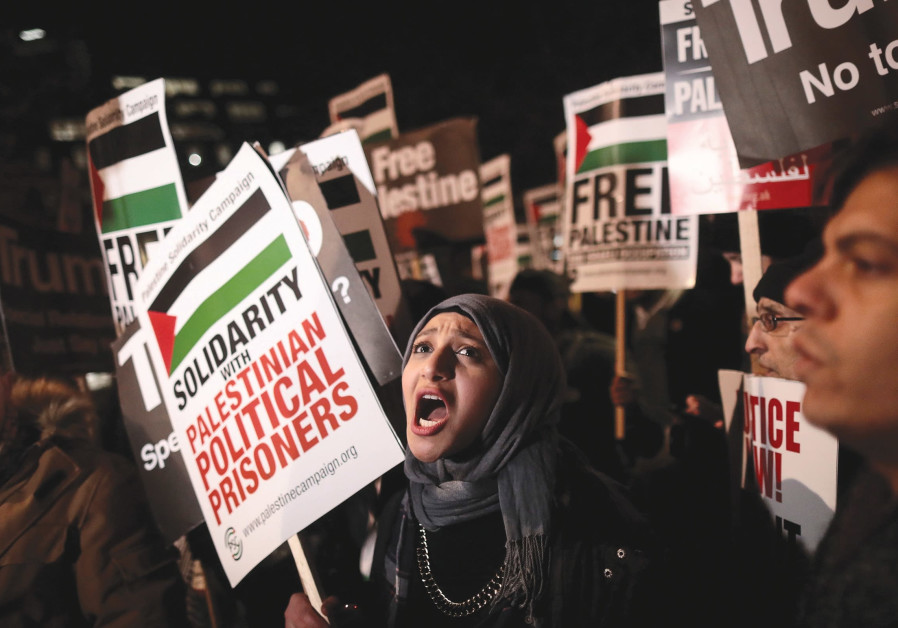 Protesters in London demonstrate in December outside the US Embassy.