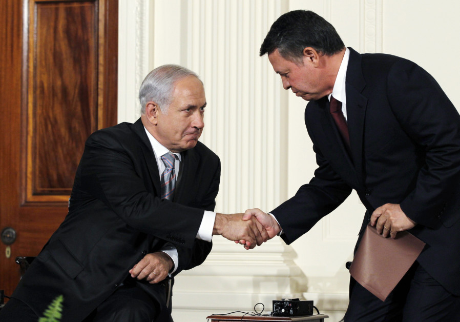 File: Jordan's King Abdullah II greets Israeli Prime Minister Netanyahu at the White House in Washin