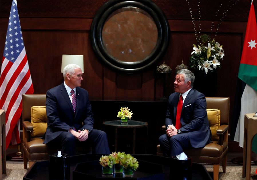 Jordan's King Abdullah speaks during his meeting with US Vice President Mike Pence in Amman, Jordan