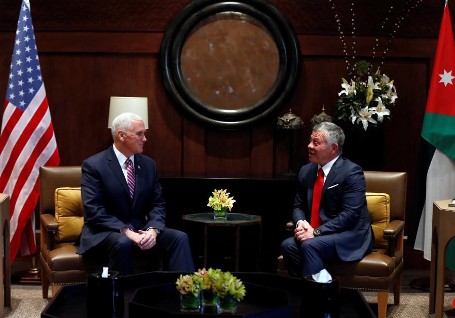 Jordan's King Abdullah speaks during his meeting with US Vice President Mike Pence in Amman, Jordan