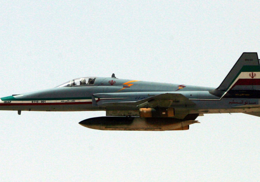An Iranian Saeqeh jet flies during a war-game in the northwest of Iran.