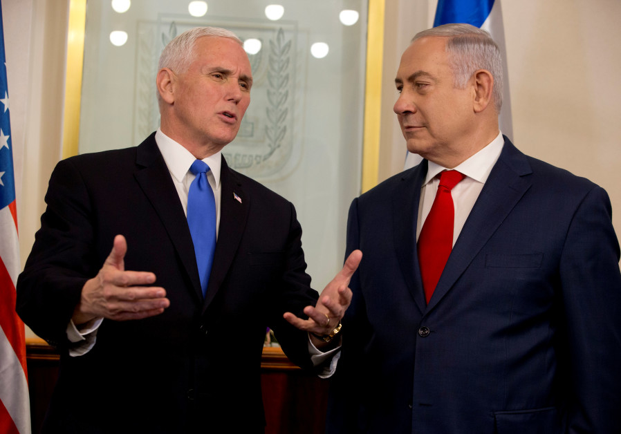 US Vice President Mike Pence speaks with Israeli Prime Minister Benjamin Netanyahu in Jersualem