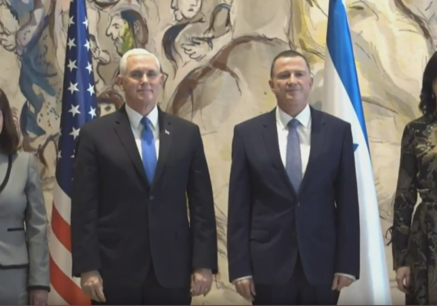 Vice President Mike Pence stands beside Knesset Speaker Yuli Edelstein ahead of Pence's speech