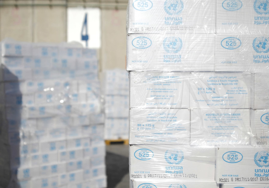 Boxes from UNRWA await transfer to Gaza from Israel.