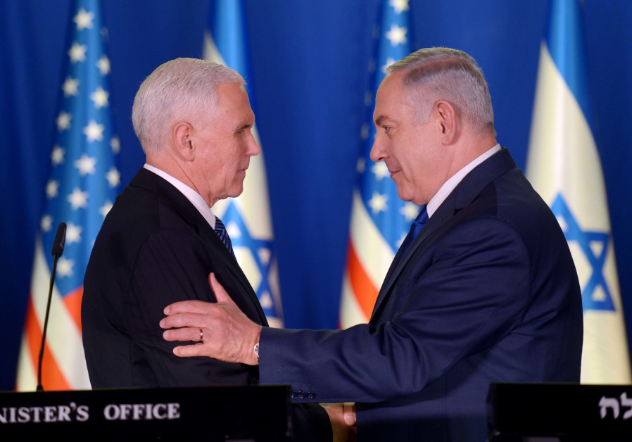 Prime Minister Benjamin Netanyahu and United States Vice President Mike Pence during joint statement